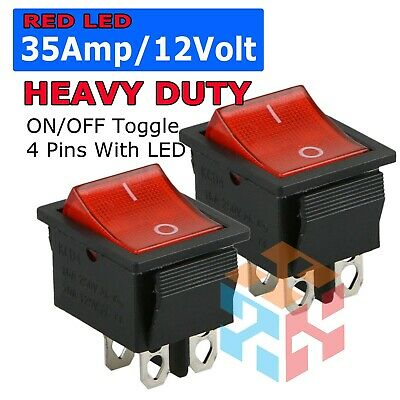 ROCKER SWITCH DPST ON OFF TOGGLE 15 AMP 250V 20 AMP 125V 4 PIN EC-2604