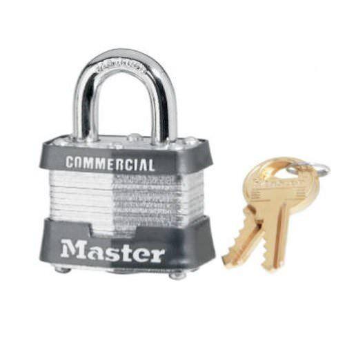 "Master Lock 3KA3220 Keyed Alike 1-9//16/"" Steel Pin Tumbler Padlock Pack of 4"