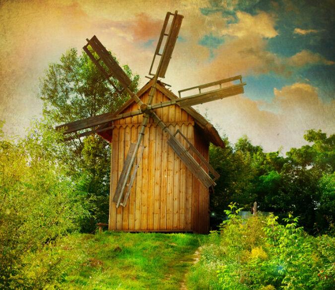 3D Wooden windmill 1 WallPaper Murals Wall Print Decal Wall Deco AJ WALLPAPER