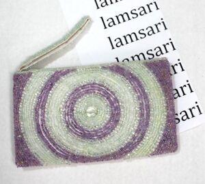 Handmade-Beaded-Zip-Clutch-Purse-Wristlet-Strap-Medallion-White-amp-Purple