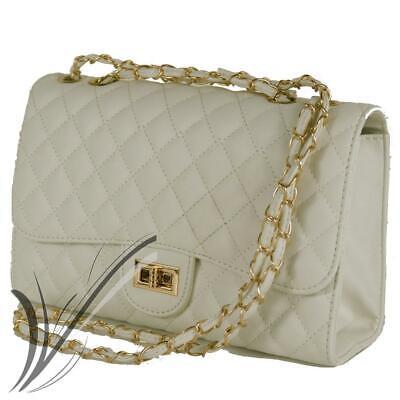 Dettagli su Borsa trapuntata nera con tracolla catena borsetta ragazza da donna elegante
