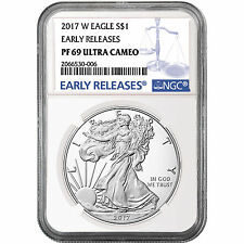 2017 W Silver American Eagle Coin PF69 UC ER NGC Blue Label