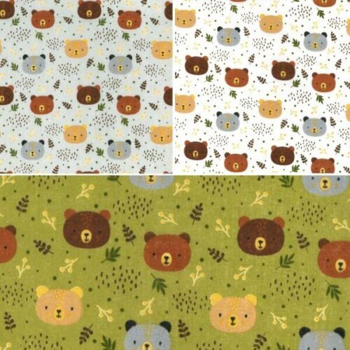 En Polycoton Tissu Woodland Ours Animaux Forêt Feuilles Craft Material