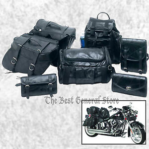 Image Is Loading 7pc Black Leather Motorcycle Travel Bags Saddlebags Luggage