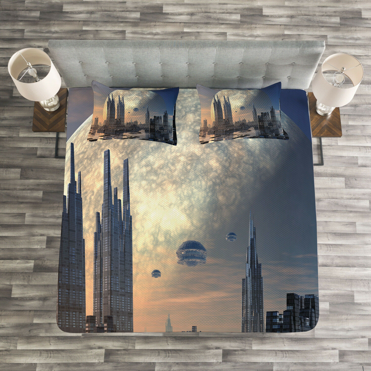 City Quilted Bedspread & Pillow Shams Set, Spacecraft in Formation Print