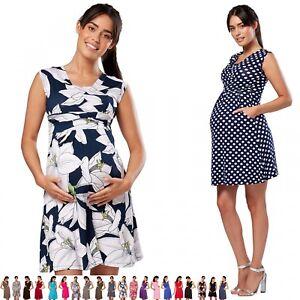 Zeta-Ville-Women-039-s-Maternity-Nursing-A-line-Dress-Pockets-Sleeveless-500c