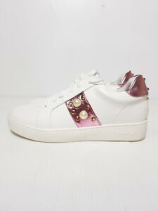 New Vices Women's Shoes Lace Up Sneakers White Studs Pearl EU 37 / US 6.5 / UK 4