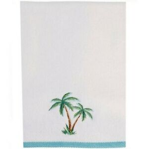 Details About Palm Tree Isle Embroidered Hand Towels Set Of 2 Summer Beach Coastal Home