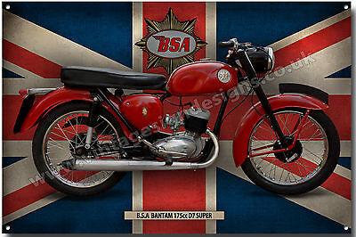 A4 BSA 175CC MODEL D7 BANTAM SUPER METAL SIGN.VINTAGE BRITISH BSA MOTORCYCLES.