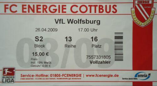 TICKET 2008//09 FC Energie Cottbus VfL Wolfsburg