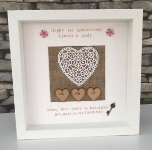 3dfbc5ebdc3aa Image is loading First-1st-Anniversary-Personalised-Gift-Frame-Paper-Heart-