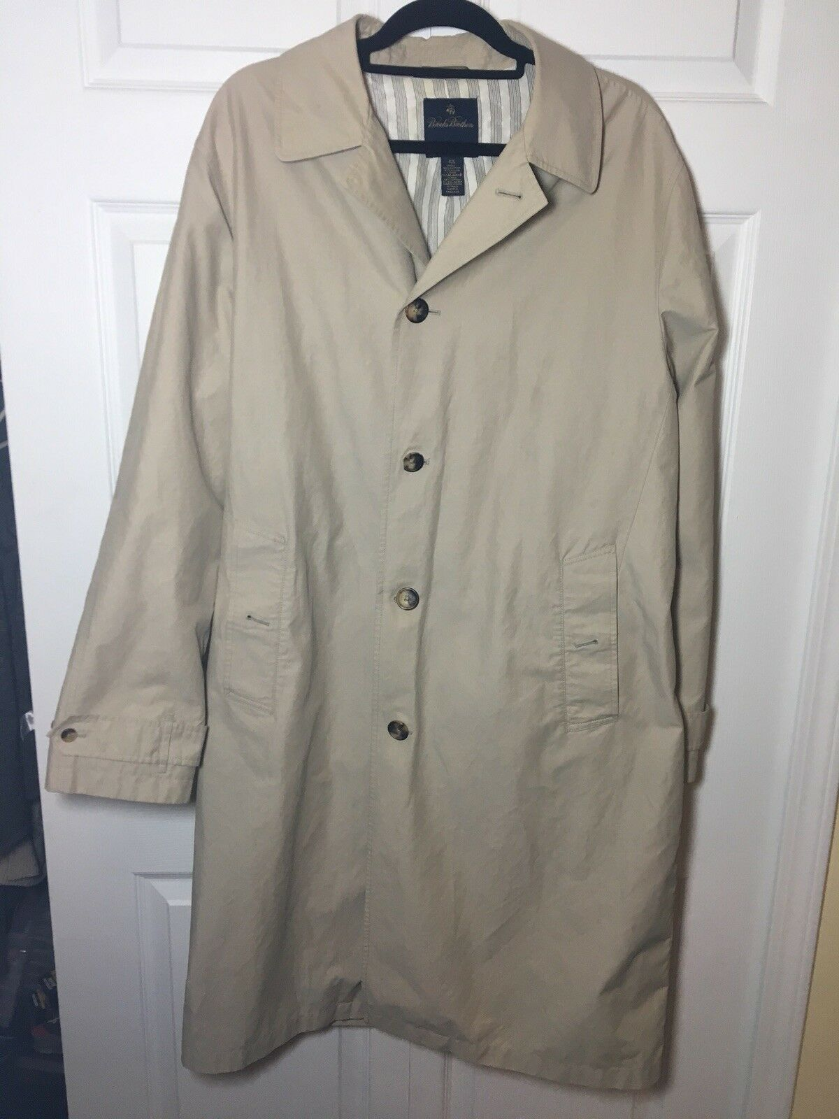 Brooks Bredhers Cotton Khaki Tan Dress Overcoat FREE SHIPPING