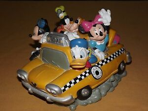 VINTAGE-DISNEY-MICKEY-MINNIE-MOUSE-GOOFY-DONALD-PLUTO-FAB-5-TAXI-COIN-BANK