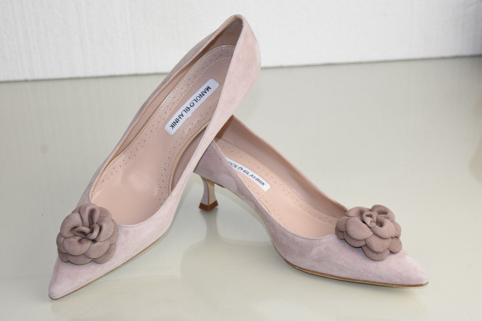755 NEW MANOLO BLAHNIK Camelia Camelia Camelia BB 50 ROSE Suede  Kitten Heels chaussures 39.5 40 41 456e75