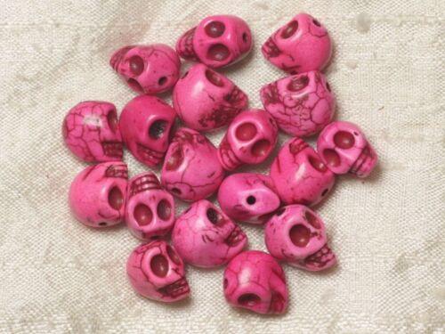 10pc Perles Crâne Tête de Mort 12mm Roses  4558550030566