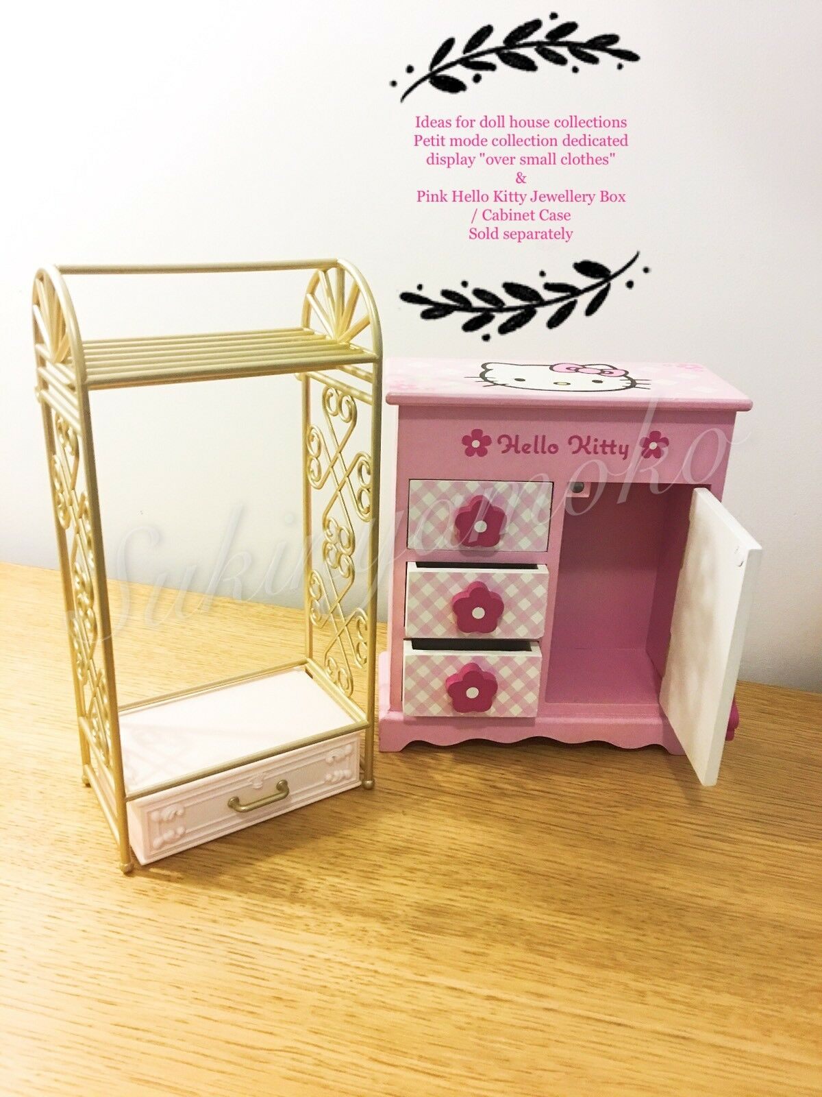 Doll House collections  - Hello Kitty Jewellery Box / Cabinet Case - Hand made