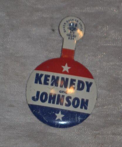 Tab Pin Button 1960 JFK For President Kennedy Johnson