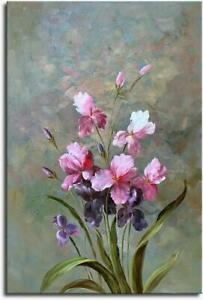 Hand-Painted-Pink-Abstract-Flower-Oil-Painting-Wall-Art-Floral-Canvas-Home-Decor