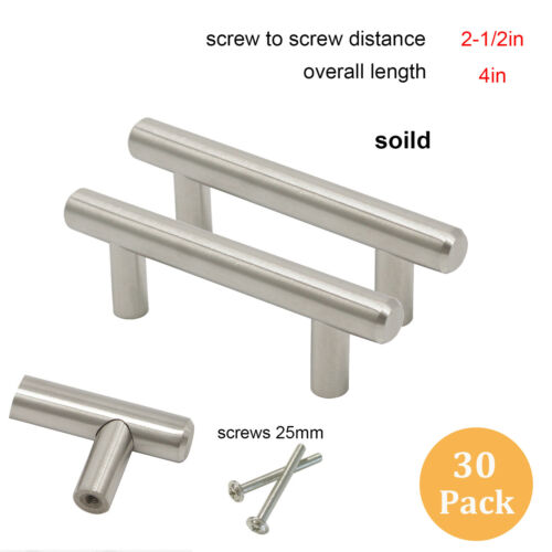 30Pack Brushed Nickel Cabinet Pulls SOLID Stainless Steel Drawer T Bar Handles