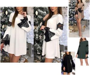 Vestito Mini Donna Abito Inserti Pizzo Woman Lace Mini Dress 110390 P