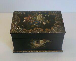 19th C. Papier Mache Card Box, Black Lacquer, Mother-of ...