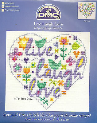 VAT Free DMC Counted Say it with Cross Stitch Kit Live Laugh Love BK1534 New