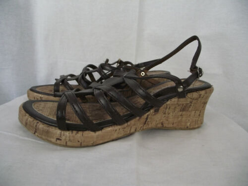 BNWT Little Girls Sz 10 Rivers Doghouse Brand Dark Brown Wedge Strappy Sandals