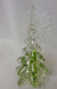 Vtg Green Ribbon Swirl Crystal Solid Art Glass Christmas ...