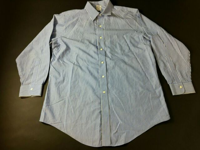 Brooks Brothers Mens Blue Striped Front Pocket Button Front Shirt Size 17-33