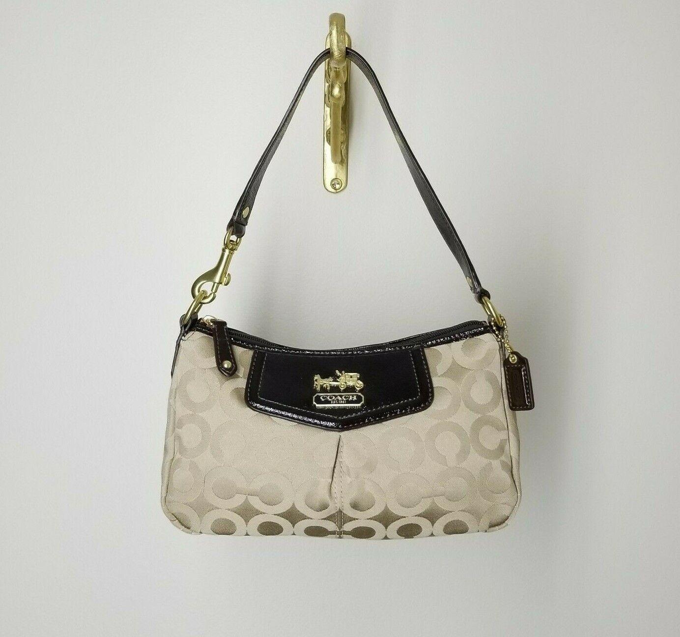 Tan COACH Satchel Handbag Baguette Small Evening Bag Carriage Logo Brown Clutch