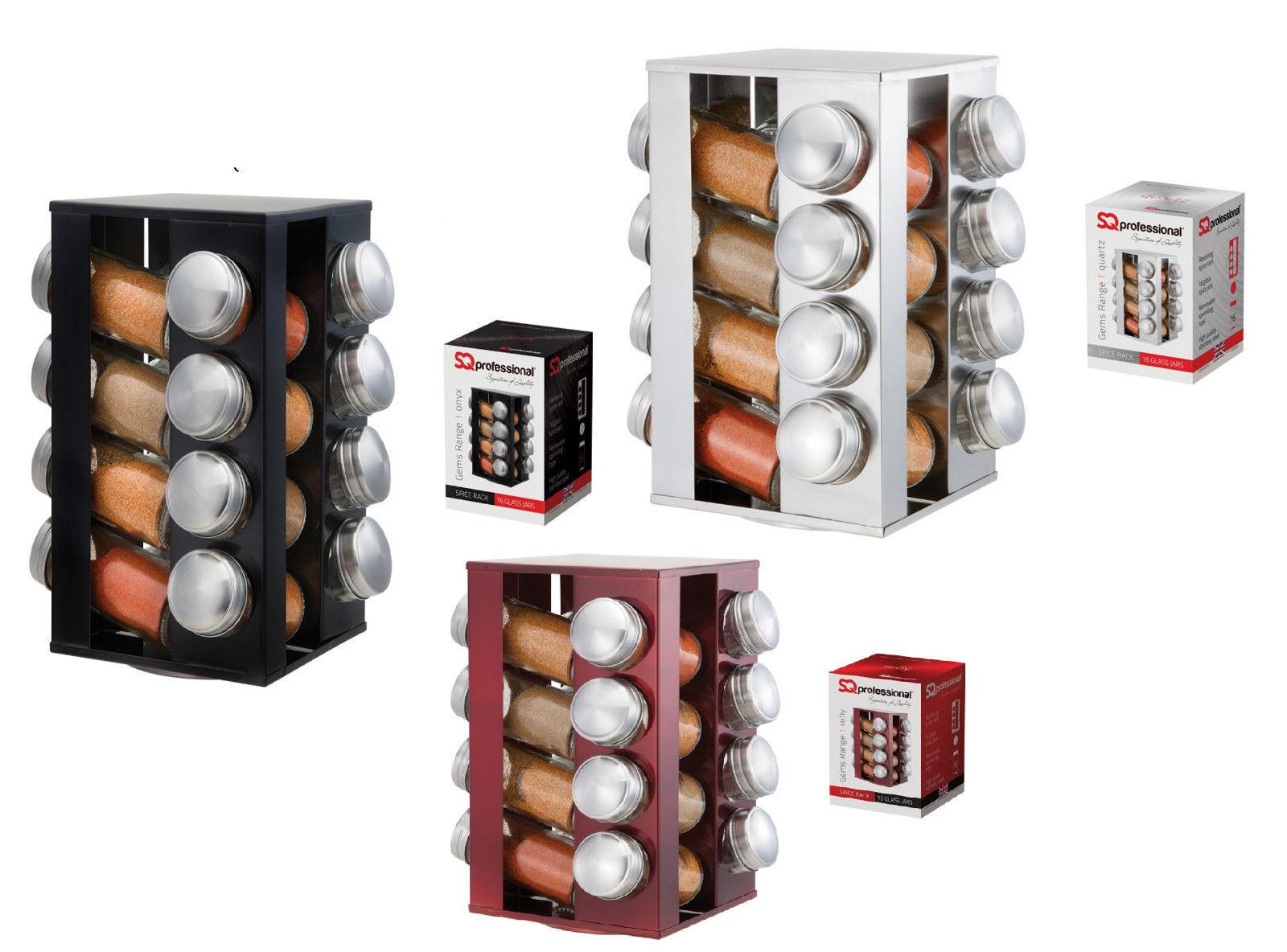 Verre en acier inoxydable 16 bocal à épices Carrousel à épices rougeatif stand avec couvercle Carrousel
