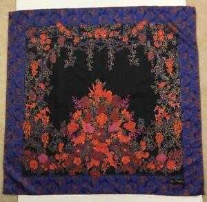 Jim-Thompson-Square-Silk-Scarf-Floral-Garden-Trellis-Black-Blue-Orange