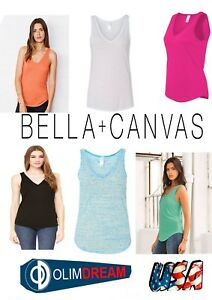 73573ea6 Bella + Canvas - Women's Flowy V-neck Tank - 8805 | eBay