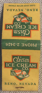 Vintage Matchbook Cover Chism Ice Cream Company Reno, Nevada! No Reserve d663