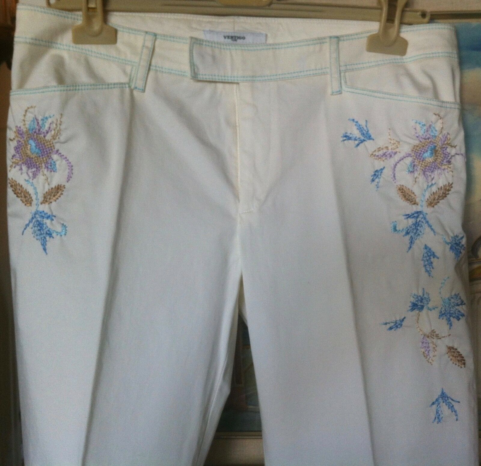 verdeIGO blancoo Algodón  Pantalones Sueltos Pantalones para Bordado Jeans Nuevo FR 42 US 10  elige tu favorito