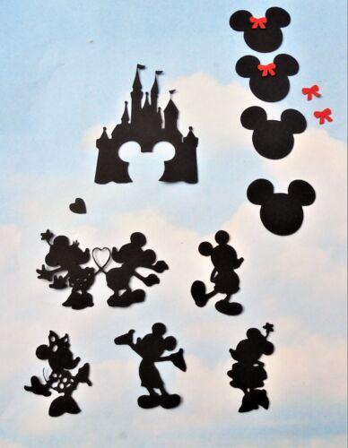 Topper Mickey Minnie Mouse x 10 noir Scrap booking, DIE CUT Disney Castle