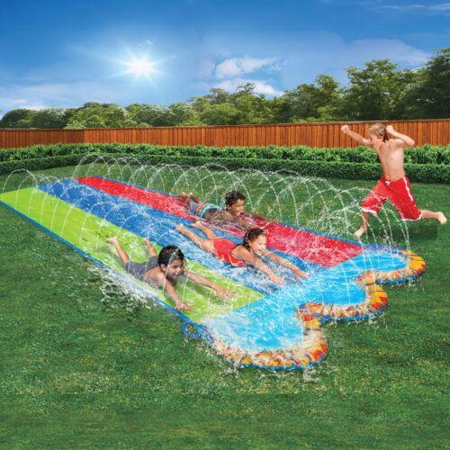 Slip N Slide Outdoor Inflatable Play Triple Water Slider Bounce Summer Fun Toy