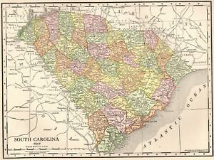 1911 Vintage South Carolina Map Antique South Carolina State Map