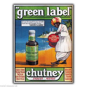 VINTAGE GREEN LABEL CHUTNEY ADVERTISING A4 POSTER PRINT