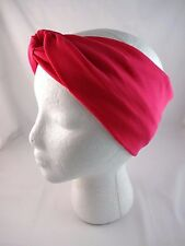 Turban knot headband hot pink fabric twist head wrap jersey extra wide