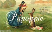 Easter Fabric Block Victorian Girl Easter Bunny Easter Bonnet Eggs
