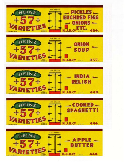 "Heinz ""57 Varieties"" 45 boxcar set HO scale, printed reefer sides"