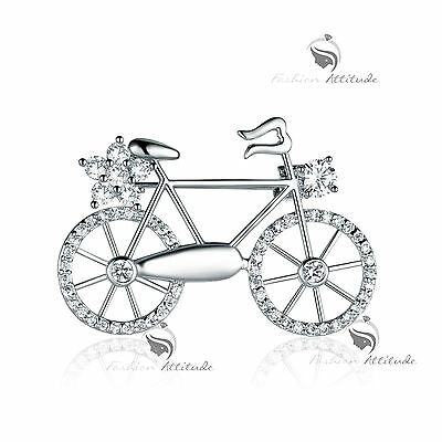18K WHITE GOLD GP MADE WITH SWAROVSKI CRYSTAL FLOWER BIKE BICYCLE BROOCH FASHION