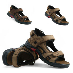 Mens-Sport-Sandals-Outdoor-Faux-Leather-Casual-Hiking-Shoes-Modern-Adjustable-A1