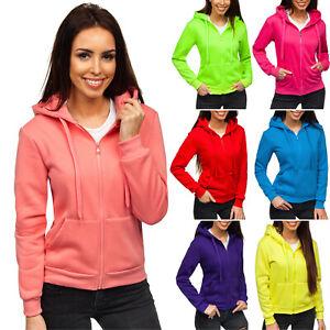 Kapuzenpullover-Sweatjacke-Sweatshirt-Hoodie-Pulli-Unifarben-Damen-BOLF-Basic
