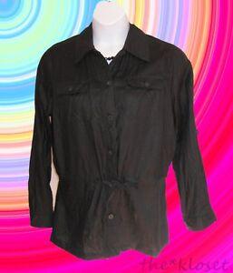 BLACK-Linen-Blouse-Shirt-Plus-Size-1X-14W-16W-Drawstring-Charter-Club-Top-L-S