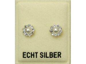 Das Bild wird geladen ECHT-SILBER-Perlen-Ohrstecker-umrandet-von-9-Zirkonia- 66ba79ab70