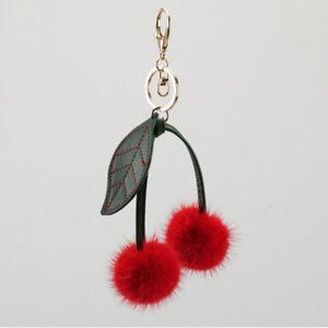 9375cafd5af Red 100% Real Mink Fur Cute Cherry Berry Keychain Handbag Charm ...