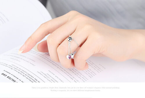 Bamoer S925 Silver adjustable Chain Ring With Heart Pendant For Women Jewelry