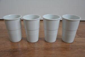 4 Stück Becher Blumentöpfe Vasen Keramik weiß H 13 cm wie Neu